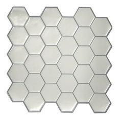 White Hexagon Stick Tile With Beveled Edges, Sample