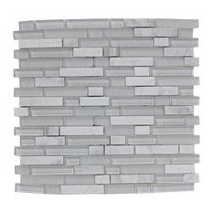 Linear Glass Stone Mix Mosaic Tiles, White, Set of 20 m²