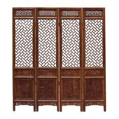 Chinese Brown Geometric Pattern Theme Wood Panel Floor Screen Hc5258