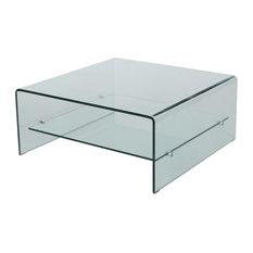 GDF Studio Classon Square Glass Coffee Table With Shelf