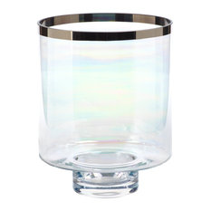 Pearl Luster Glass Hurricane With Platinum Rim, Large