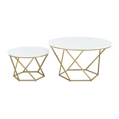 Bohemian Geometric Glass 2-Piece Nesting Coffee Table Set, White Marble and Gold