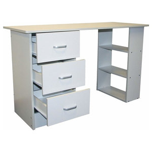 Modern Stylish Desk, MDF With 3 Open Shelves and 3 Storage-Drawer, White