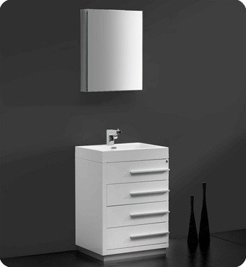 Fresca Livello 24 X 19 White Modern Bathroom Vanity Fvn8024wh Vanities And Sink Consoles