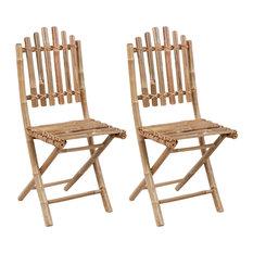 vidaXL Set of 2 Foldable Bamboo Chairs