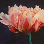 Petra Gerber - Peony Painting - Large permanent watercolor painting - protected from UV rays by 1/4 inch acrylic and framed with metal frame.  Ready for hanging.