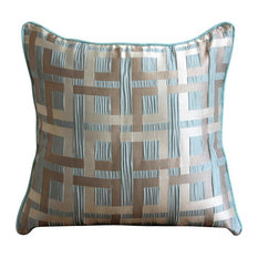 Maze Optic Striped 40x40 Jacquard Weave Sea Green Throw Cushion Cover, Opulence