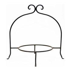 "Handmade Wrought Iron Single Tier Plate Rack, 13""x8"""