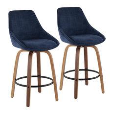 Diana Counter Stools, Set of 2, Walnut Wood, Blue Corduroy