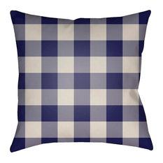 "Checker by Surya Poly Fill Pillow, Blue/Neutral, 18""x18"", PLAID031-1818"