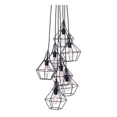 Zuo Modern Palmerston Ceiling Lamp, Distressed Black