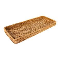 Artifacts Rattan Rectangular Vanity Tray, Honey Brown