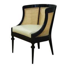 Heaton Hollywood Regency Black Wood Cane Leather Side Chair