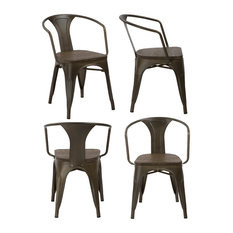Btexpert   Industrial Metal Wood Stacking Antique Rustic Dining Arm Chair,  Set Of 4