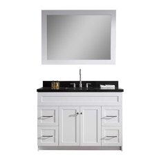 """Ariel Hamlet 49"""" Single Sink Vanity, Absolute Black Granite Countertop, White"""