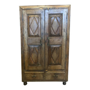 Mogul Interior - Consigned Antique Cabinet Chest Eclectic Furniture Armoire with drawers - Accent Chests And Cabinets