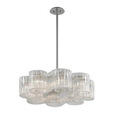 Circo 8-Light Pendant, Satin Silver Leaf With Hand-Crafted Venetia