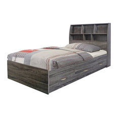 Benzara, Woodland Imprts, The Urban Port - Grey Finish Twin Size Chest Bed With 3 Drawers On Metal Glides - Platform Beds