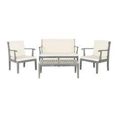 Safavieh - Safavieh Mallorca Outdoor Living Set, 4-Piece, Ash Grey and Ecru - Garden Lounge Sets