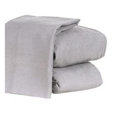 GSPN - 4-Piece Flannel Sheet Set Heavyweight 190GSM Ultra Soft, Gray, Full - Sheet And Pillowcase Se