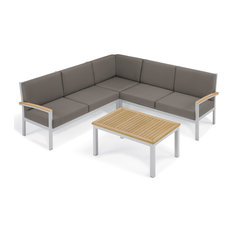 Travira, 4-Piece Loveseat and Coffee Table Chat Set, Natural Teakwood