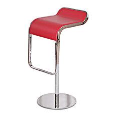 CMC   Lem Style Adjustable Piston Bar Stool, Red, Italian Leather   Bar  Stools