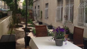 Seitengarten an einer Jugendstilvilla