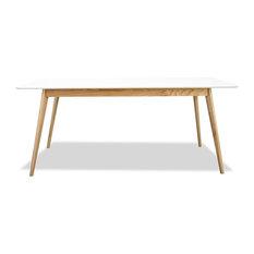 Table scandinave bois et laque Medium 160cm Skoll Couleur Blanc