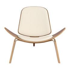 Kardiel Tripod Plywood Modern Lounge Chair, Cream Italian Leather/Walnut