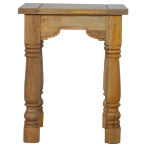 Petite End Table, Oak Finish Mango Wood