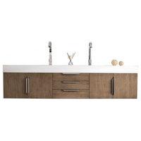 "Mercer Island 72"" Double Vanity, Latte Oak, Matte White Solid Surface Top"