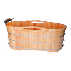 "61"" Free Standing Oak Wood Bath With Cushion Headrest"