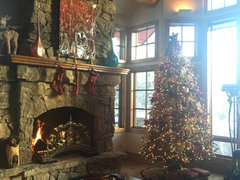 Our Cozy Fireplace Looking Out At The Beautiful Snow Falling In The Rockies