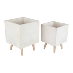 Modern Square Fiber Clay Planters With Wooden Legs, 2-Piece Set, White