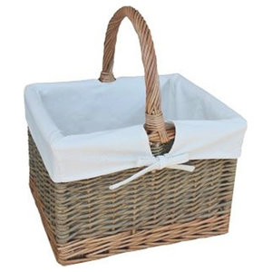 Country Butchers Wicker Shopping Basket, White Lining