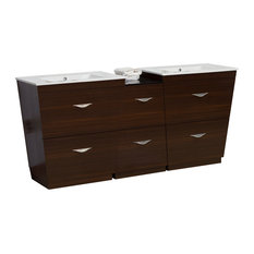 "Plywood-Melamine Vanity Set, Wenge With 8""O.C, CUPC Faucet"