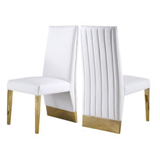 Porsha Dining Chair, Set of 2, White Faux Leather, Gold Legs