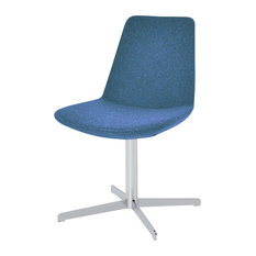 Eiffel 4 Star Dining Chair, Chrome Base, Sky Blue Camira Wool