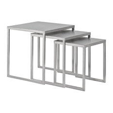3-Pc Stainless Steel  Nesting Table Set in Silver