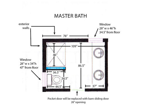 Help With 9 X 7 Master Bath Shower Size