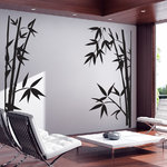WALLTAT - Bamboo, Black, 84 X 82, As-Is - Bamboo Wall Decals will bring bold Asian flair to any room of the home or office.  Allow this wall decal to accent the corner window or position each side anywhere along your window or mirror.  Like nature, this bamboo appears to have grown upward towards the sun. Allow them to sprout out from the window molding, glass track, behind curtains or chairs. Position the two pieces to fit any room. Available on Houzz in Size E in Black As-is Orientation. Convert your walls into interesting landscapes in minutes with WALLTAT Wall Decals. Made in the U.S.A.