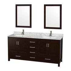 Double Bathroom Vanity, Countertop, Undermount Square Sinks, Mirrors, Espresso