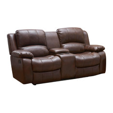 Betsy Furniture Bonded Leather Reclining Loveseat Brown
