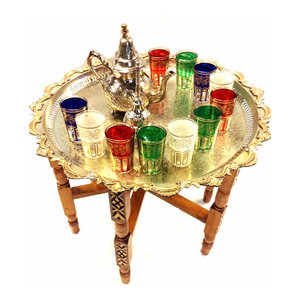 Consigned  Traditional Moroccan Tea Folding Table & Silver Teapot 12 Glasses Set