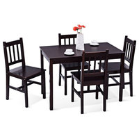 5 pcs Wood Dining 4 Chairs & Table Set-Brown