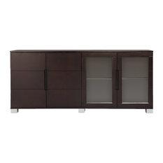 Hayes Cabinet, Dark Oak With Glass Doors
