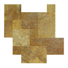 Meandros Gold Travertine Tile Antique Pattern Brushed and Chiseled