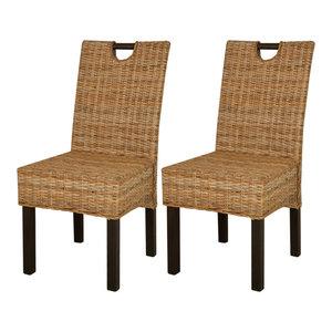 VidaXL Dining Chairs, Set of 2 Kubu Rattan Mango Wood
