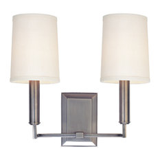Clinton, Two Light Wall Sconce, Aged Brass Finish, Off White Parchment Shade