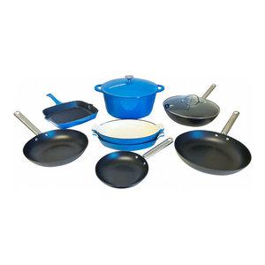 10-Piece ALL Enamel Cast Iron Cookware Set, (Multi-Colored)